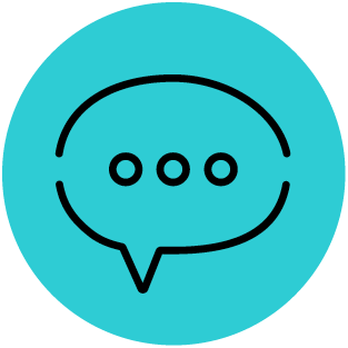messaging icon teal and black